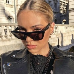 2018 New Vintage Cat Eye clear Sunglasses Women Brand Designer retro Blue red flat top Gradient ladies square sun glasses UV400