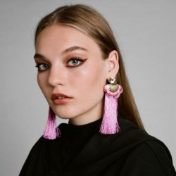 2017 Boho Statement Earrings Ethnic Purple Drop Earing Jewelry Colorful Fringe Tassel Earrings for Women Brincos