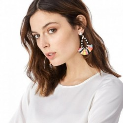 JUJIA 6 colors handmade cotton tassel earrings fashion women statement dangle drop Earrings for women Fringing earrings jewelry