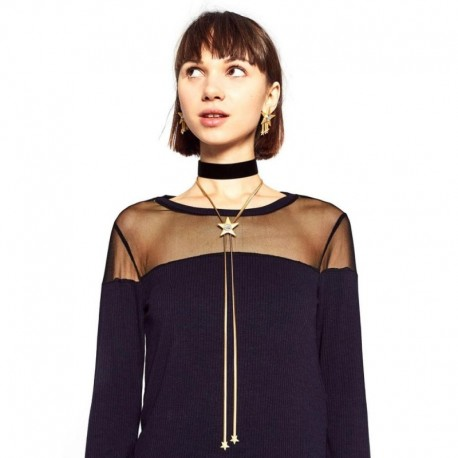 JUJIA New Z choker star moon pendan necklace fashion necklace costume collar torques statement choker necklace set with earring