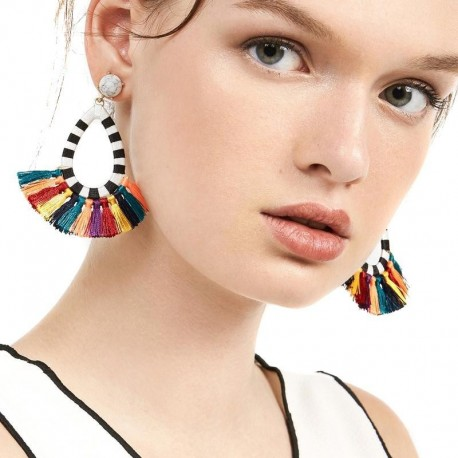 JUJIA good winter color tassel earrings fashion women statement dangle drops Earrings for women Fringing earrings jewelry