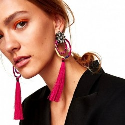 JUJIA Fashion Hot Sale Brand Tassel Long Earrings Statement Jewelry Women Fringed Wedding Drop Dangle Earrings Wholesale