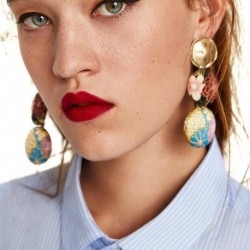 JUJIA 10 colors christmas gift earrings fashion women round big metal statement drop earrings statement jewelry wholesale