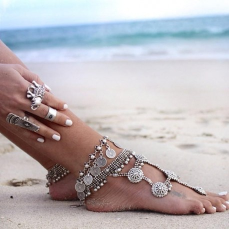 Hot New Fashion 2017 Ankle Bracelet Wedding Barefoot Sandals Beach Foot Jewelry Sexy Pie Leg Chain Female Boho coin Anklet