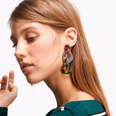 Vintage Large Acrylic Drop Earrings Fashion Resin Round Dangle Statement Earrings For Women Wholesale