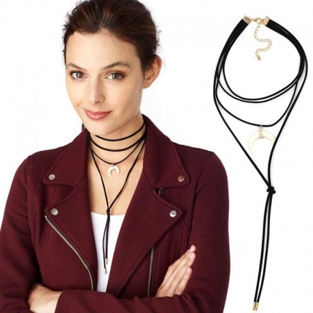 2 colors New leather choker necklace fashion necklace costume collar multilayer torques statement necklace for women