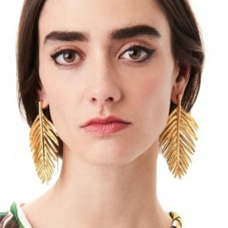JUJIA 2 colors New Women's fashion leaf earrings metal jewelry statement earring for women girls