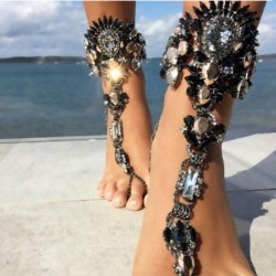 Hot Style Fashion Bracelet Wedding Barefoot Sandals Beach Foot Jewelry Sexy Pie Leg Chain Anklet Boho Crystal Bracelet 1pcs