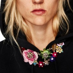 JUJIA 5 colors wholesale New women fashion necklace costume maxi flower Bejewelled floral statement Necklace for women
