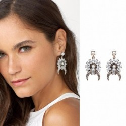 JUJIA New 2017 good quality Trend fashion hot sale women 3 colors crystal stud earring vintage statement fashion Earring