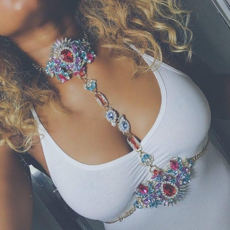 Fashion Sexy body Charm Exaggerated Night Club Party Long Prethoracic Chain Statement Necklace body jewelry drop ship