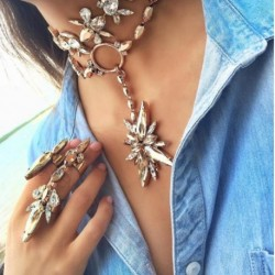 JUJIA new 2017 choker pendant necklace fashion women bohemia AB color maxi necklace drop shipping