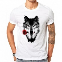 100% Cotton 3D Wolf Rose T Shirt Men Summer Funny Wolf Man's T-shirt Casual White Hip Hop Animals Shirt Plus Size 4XL DF60