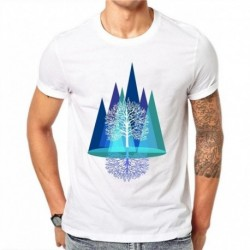 100% Cotton Abstract Painted Summer T-Shirt Men Casual Fashion Men Clothing Cotton 3D Blue Trees Printing White T Shirt 4XL
