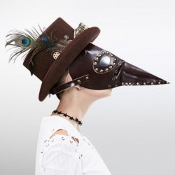 Halloween Party Mask Steampunk Vintage Gothic Long Nose Plague Doctor Bird Mouth Mask Cosplay PU Leather Mask Cosplay Bar Props