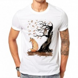 100% Cotton Chinese Myths Fox Autumn Tree White T Shirts Summer Print Men Short Sleeve Casual Tops T-shirt O-Neck Plus Size