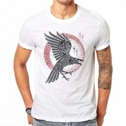 100% Cotton Cool Eagle Design Animal T Shirt Summer Men Short Sleeve Cute 3D Eagle Print Slim Fit Men's T-Shirts White Tees