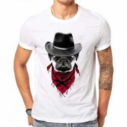 100% Cotton Cool French Bulldog T-Shirt Men Short Sleeve Pug Printed T Shirt Harajuku Cowboy Design Tee Tops Summer Fashion