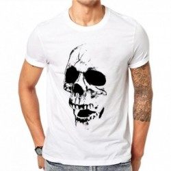 100% Cotton Cool Men T Shirt Harajuku Fashion Design Tops Gothic Skull Printed T-Shirts Punk Hipster Tee Short Sleeve SD59