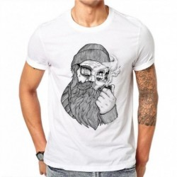 100% Cotton Creative Cartoon Design Men T Shirt Old Man Smoking Printed T-shirt Short Sleeve Casual Tops White Tees Plus Size