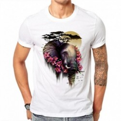 100% Cotton Creative Design Colorful Art Elephant Flowers T Shirts Men Fashion Shirts Comfortable Casual Tops Short Sleeve SD59