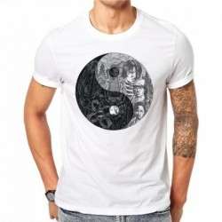 100% Cotton Fashion Yin Yang Design Men T-shirt Short Sleeve T Shirts Vintage Cartoons Printed Cool Hipster Tee Shirts SD59