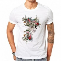 100% Cotton Floral Skull Design Men T Shirts Summer Fashion Short Sleeve Flower Skull Printed T-Shirt Tee Casual White Tops