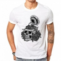 100% Cotton Gramophone Design T-Shirts Men Short Sleeve White Tops Skull Printed Casual T Shirts Fitness Tee Retro Style