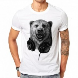 100% Cotton Harajuku Bear Casual Male T-Shirt Men Short Sleeve Gothic Animal 3D Printed T Shirt Design Tee Summer Tops