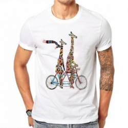 100% Cotton Harajuku Colorful Giraffe Print Men TShirt Summer Casual Cartoons Tees Tops Mens Short Sleeve T-shirt Plus Size 4XL