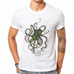 100% Cotton Harajuku Colorful Octopus T-Shirt Men Short Sleeve Animal Design 3D Printed T Shirt Tee Tops Hip Hop Male Clothing