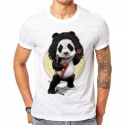 100% Cotton Harajuku Musical Panda Print T Shirt Men Summer Style Short Sleeve Cartoon Tops T-shirt Male Casual White Tees