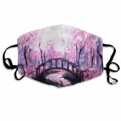 Polyester Anti-dust Mouth Mask - Flowers Tree Moon Bridge Seamless Art Washed Reusable Mouth-Muffle - Fashion Printed Face Masks