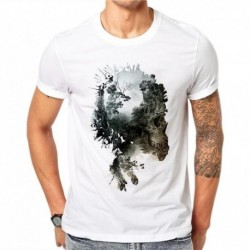 100% Cotton Hexagon Creative Design 3D Cliff Skull Men T Shirt Summer Casual Tees Tops Mens Short Sleeve T-shirt Plus Size 4XL