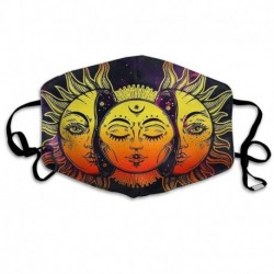 Premium Dust Mask - Washable Breathable Mouth Face Mask - Adjustable Ear Loop for Kids Women Men Hippie Boho Sun and Moon