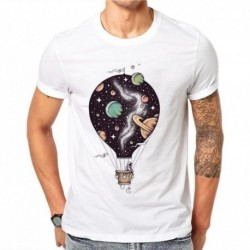 100% Cotton Hot Air Balloon Design Summer Short Sleeves Cartoons Universe Astronaut Men White Tees T-Shirts Top Shirt Plus Size