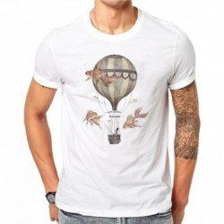 100% Cotton Hot Air Balloons Design Men T-shirt Goldfish Printed Male Cool Tops Hipster Style Short Sleeve Casual Tee T Shirts