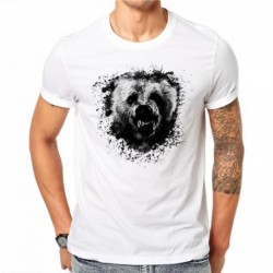 100% Cotton Ink Bear Design Men T-shirt Animal Printed Male Cool Tops Hipster Short Sleeve Casual Tee T Shirts