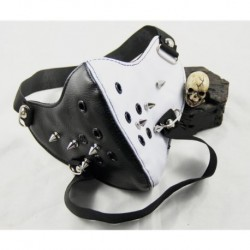 Rivet White And Black PU Leather Mask Fashion Half Face Punk Motorcycle Biker Cosplay Anti-Dust Rivet Sports Protective Mask