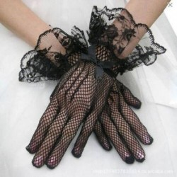 Sexy Women Evening Party Prom Driving Costume Print Lace Gloves Pretty Mesh Bride Gloves
