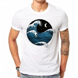 100% Cotton Japanese Style T Shirt Summer Men Short Sleeve Cartoons Sea Waves 3D Print Shirt Slim Fit Mens T-Shirts