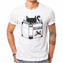100% Cotton Kawaii Cute Black Cat Reading 3D Print T Shirt Summer Men Short Sleeve Cartoons Animal Shirt Slim Fit Men's T-Shirts