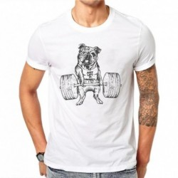 100% Cotton Kawaii Cute Dog Weightlifting Design Men Casual Tops French Bulldog T-shirt Short Sleeve Tee Pug Print White Shirts