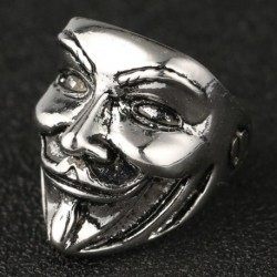 V for Vendetta Ring Smile Mask Skull Big Thumb Statement Antique Silver Vintage Fashion Punk New USA Movie Jewelry Men Wholesale