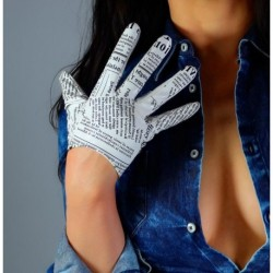 Women's runway fashion sexy slim newspaper print pu leather glove lady's club performance leather short glove 16cm R2745