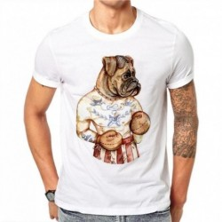 100% Cotton Men 3D Print Dog boxer T Shirt Summer Creative Casual Tees Tops T-shirt Plus Size 4XL YU55