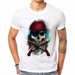 100% Cotton Men Fashion Pirate Skull 3D Printed T-shirt Casual Short Sleeve T Shirts Harajuku Tops