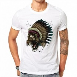 100% Cotton Men Print Indian Ferocious Tiger Tops Shirt Harajuku T-Shirts White Tops Short Sleeve RT53