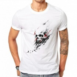 100% Cotton Men T Shirts Fashion Bird Skull Design Short Sleeve Casual Tops Hipster Skull Printed T-Shirt Cool White Tee