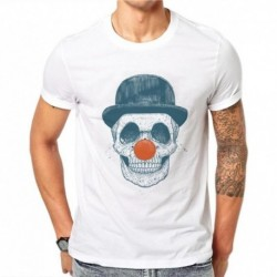 100% Cotton Men T Shirts Fashion Clown Skull Design Short Sleeve Casual Tops Skull Printed White T-Shirt Harajuku Tee SD59